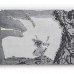טליה ישראלי, נוף צנטריפוגלי, 2020, טכניקה מעורבת על עץ, 18X30 Talia Israeli, Centrifugal landscape, 2020, Mixed media on wood, 18x30 (2)