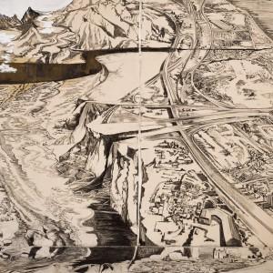 נטע ליבר שפר,  ו' קצוות (פרט), 2019-2021, אדמה ופחם על בד. צילום אבי אמסלם