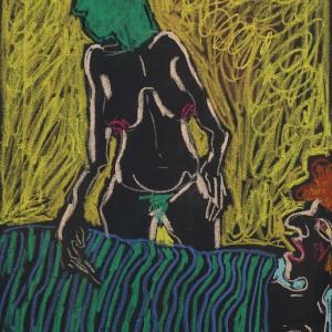"""דינה יקרסון, אינסומניה (2), 2020, גירי פסטל על נייר,  50X35 ס""""מ, צילום: אמית הרמן"""