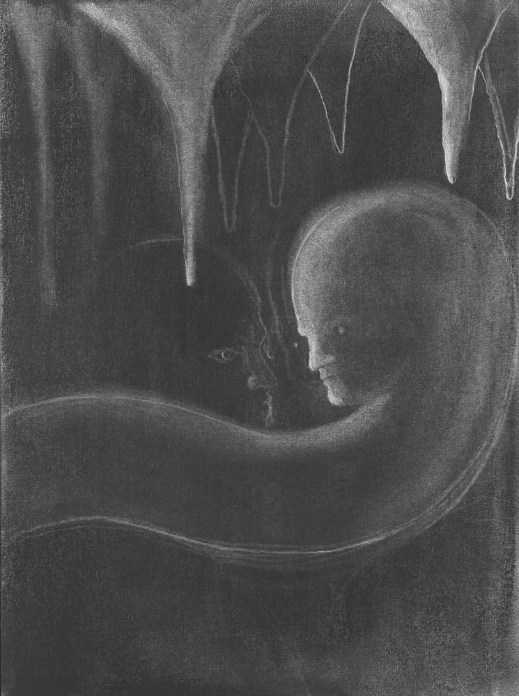 תומר רוזנטל, התקלות, 2018, פחם על נייר. Tomer Rosental, Strange Encounter, 2018, charcoal on paper.